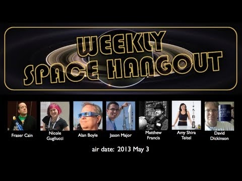 Another busy episode of the Weekly Space Hangout, with more than a dozen space stories covered by a collection of space journalists. This week's panel included Alan Boyle, Dr. Nicole Gugliucci, Amy Shira Teitel, David Dickinson, Dr. Matthew Francis, and Jason Major. Hosted by Fraser Cain.