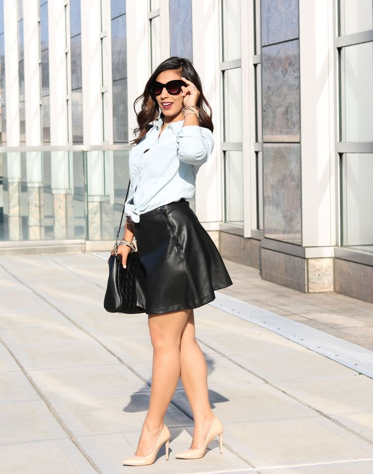 How to style a faux leather skirt for summer style