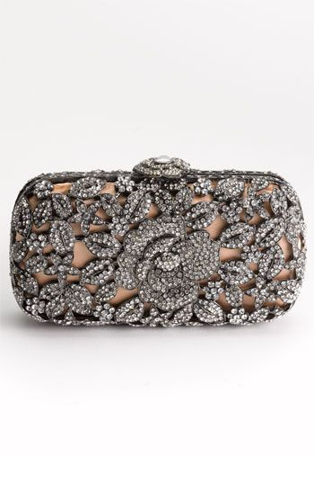 Crystal Caged Floral Clutch.