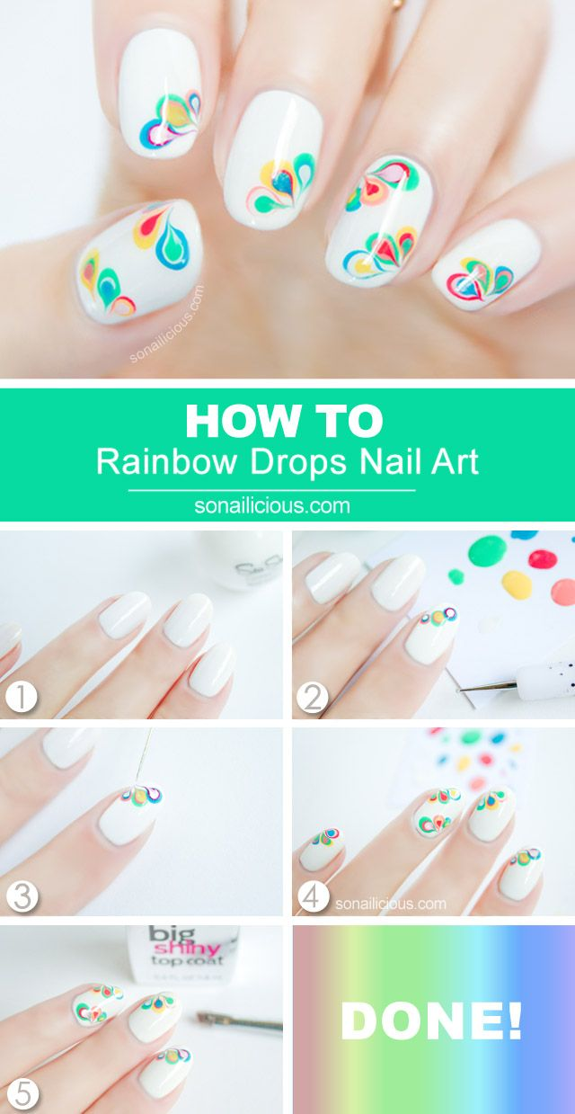 Rainbow Drops Nails. Drag Marble Nail Art Tutorial: http://sonailicious.com/drag-marble-nail-art-tutorial/