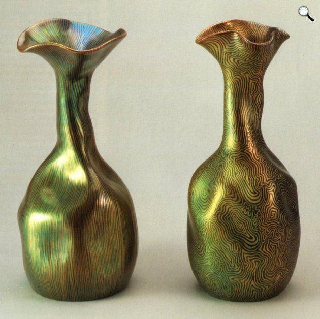 Rippl-Rónai József - Zsolnay Vilmos: Vázák Tiffany-dekorral (Fotó: bibl.u-szeged.hu)