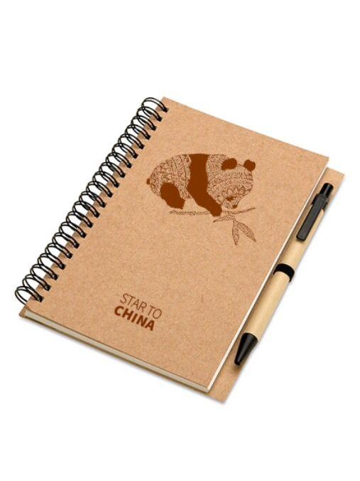 Notebook Panda - Star to China #zentangle #panda #eco #brown #note #notebook #fashion #china #design #global #world #star #startochina