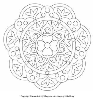 Rangoli designs. Patterns for children to colour. Could be made into Diwali Cards