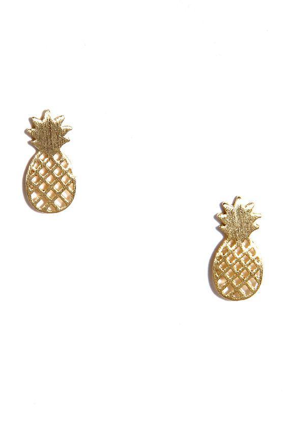 pineapple stud earrings / lulu's