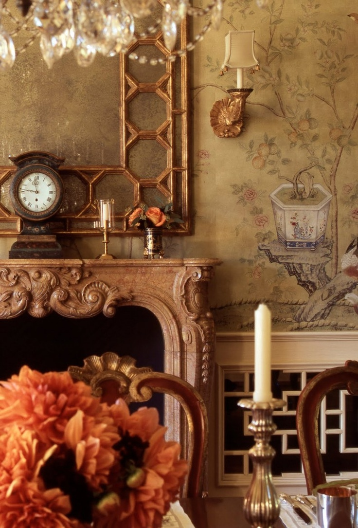 hand painted chinoiserie wallpaper mural by de Gournay