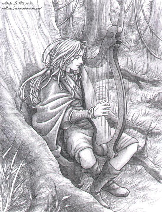 True Thomas sat on Huntley BankHarpist Life, Lorienne Sessel, Adele Lorraine, Fantasy Art, Adele Lorienne, Sessel Art, Dragons Rings, Rroad Radios, Celtic Harp