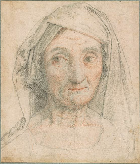 Federico Zuccaro (Federico Zuccari), c.1540/1541-1609, Italian, Head and Shoulders of a Woman.  Black and red chalk on paper, 19 x 16.4 cm.  Morgan Library & Museum, New York.  Mannerism.