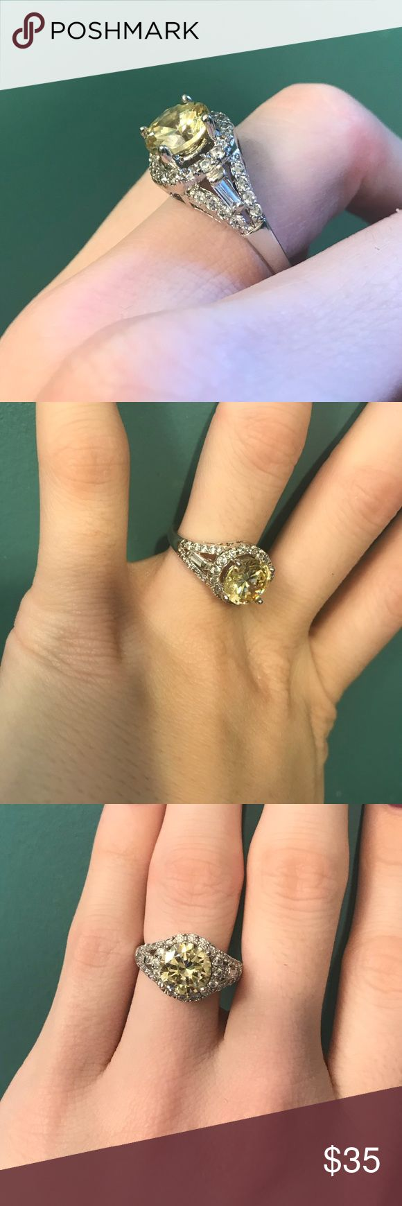 Sterling silver canary engagement ring Carrie underwood inspired and absolutely stunning! Used as a vacation ring 😍 open to offers and trades — perfect for Christmas and Valentine's Day! Jewelry Rings