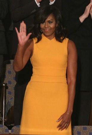 Michelle Obama's marigold Narciso Rodriguez dress sold out before the State of the Union address was over.