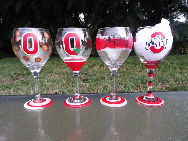 Ohio State Wine Glasses, Sports Wine Glasses, Large Wine Glasses, Hand Painted by JustABrushAndPaint on Etsy https://www.etsy.com/listing/178855873/ohio-state-wine-glasses-sports-wine