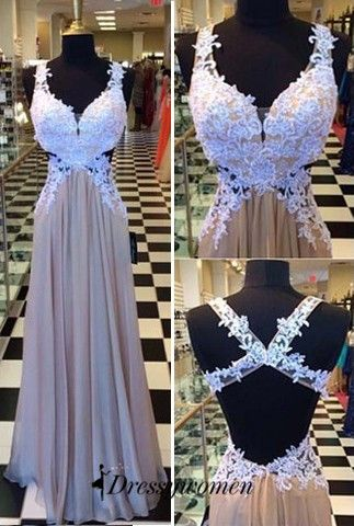 long prom dresses 2016, long champagne prom dresses with white lace appliques