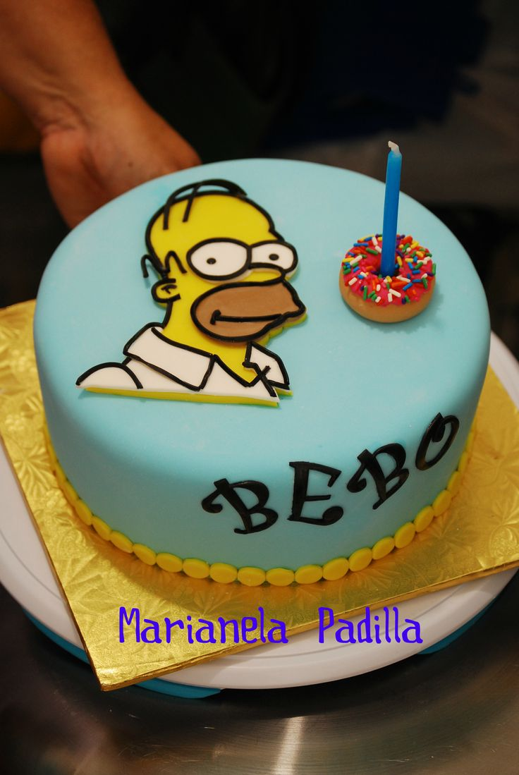 Homer Simpson cake for a true fan. I made it for my son.
