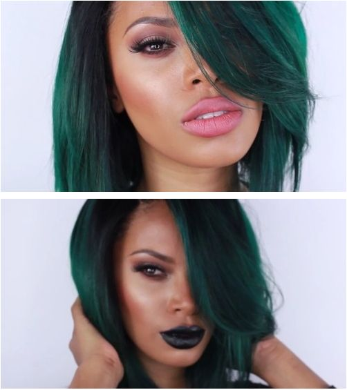 (Black?) Girl With Straight Green Hair Falling Over Her