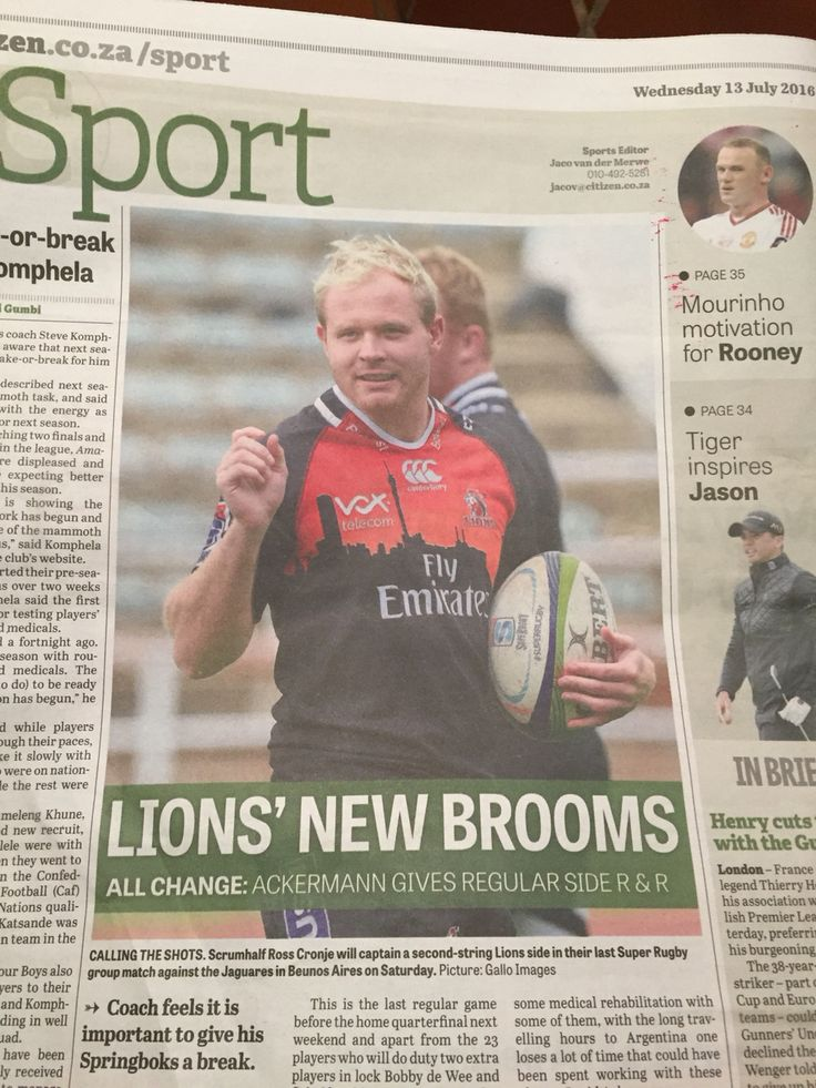 Ross Cronje. Golden Lions. Back page of Citizen Newspaper 13 July 2016