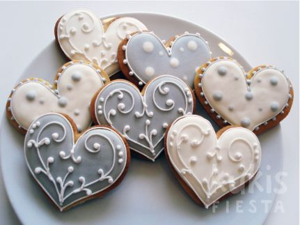 White & Gray Palette Heart Cookies
