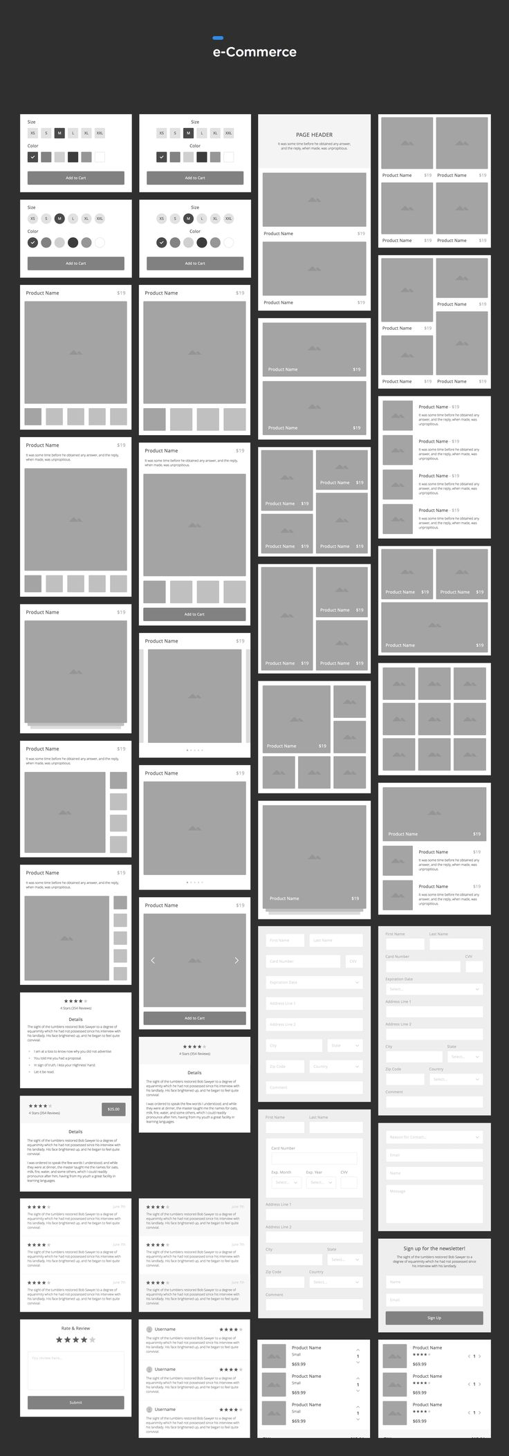 A consistent and meticulously organized set of vector-based wireframe components…