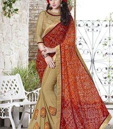 Buy Maroon printed georgette saree with blouse bandhani-sarees-bandhej online