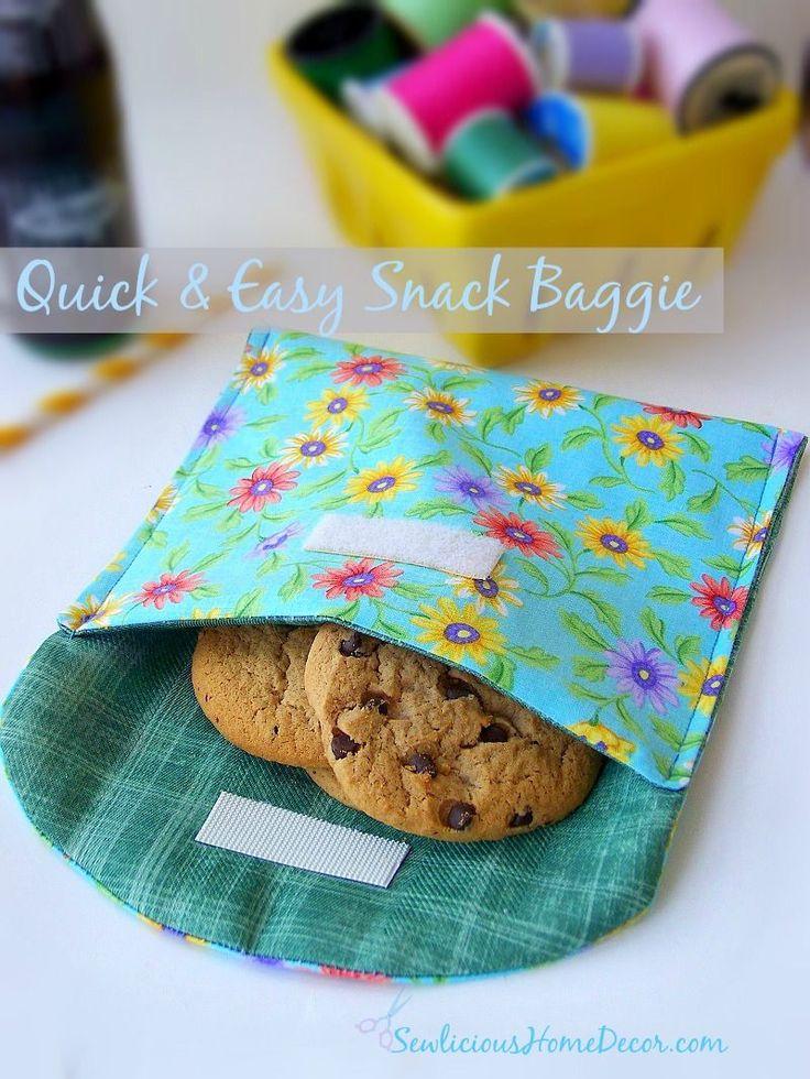 | Quick and Easy Snack Baggie {reusable} | http://sewlicioushomedecor.com