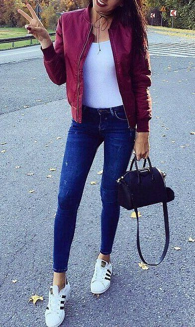 #fall #fashion ·  Red Jacket + White Top + Skinny Jeans + White Sneaker