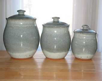Kitchen Canister Set of Three in Slate Blue  Made by pagepottery