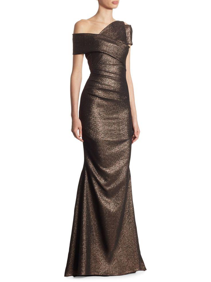 Talbot Runhof Metallic Scuba Gown