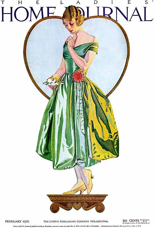Coles Phillips 1921- Ladies Home Journal- really like the way he framed her with a heart and the highlights of her skirt