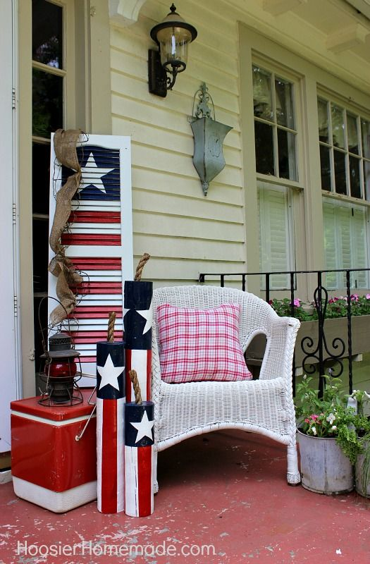 "Front Porch - 4th of July Decorating • Tutorials and ideas, including this ""DIY wooden firecrackers"" by 'Hoosier Homemade'!"