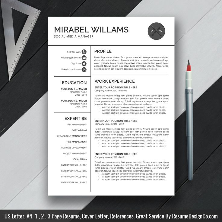 14 best cv images on Pinterest Cv template, Resume templates and - one page resumes examples
