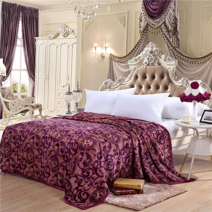 Home textiles,luxury purple style coral fleece blankets on bed best fabric bedclothes can be as bed sheet soft and warm throws