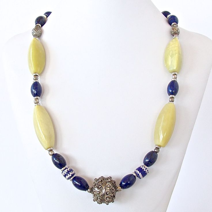 "Mali: Lapis and Chartreuse Necklace.  Be bold and beautiful with this exotic 24"" necklace in gorgeous olive jade and lapis lazuli."