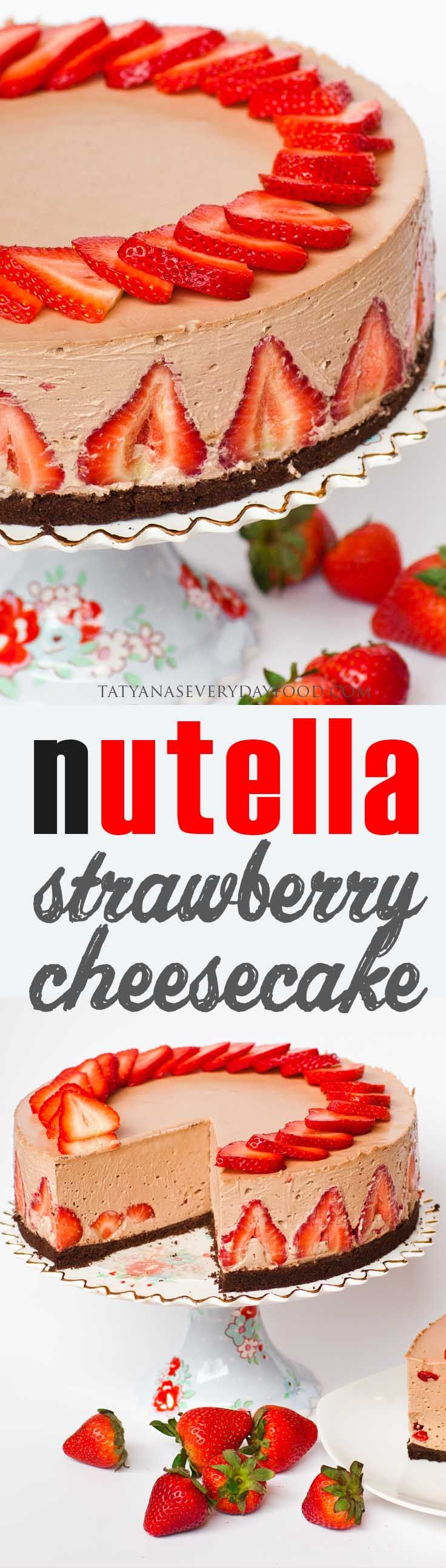 What can make a cheesecake go from good to fantastic? Nutella and strawberries! This ultra-rich no-bake strawberry and Nutella cheesecake with a chocolate crust is velvety smooth and melt-in-your-mouth good! If you're a fan of chocolate and strawberries, this is the ultimate cheesecake for you! Watch my video recipe for the strawberry garnishes!
