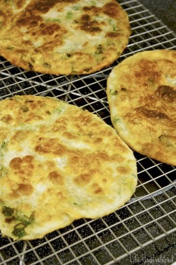 Scallion Pancakes: (Tried & liked 2-3-13) just need to repeat 3 times ...
