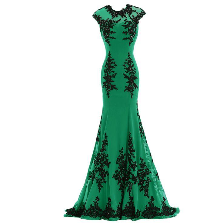 Find More Prom Dresses Information about Sexy Mermaid Prom Dresses vestido de festa O Neck Cap Sleeve Appliqued…