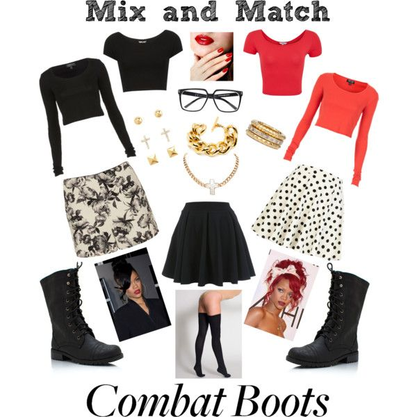 Combat boots look as great with a flare skirt as they do with black jeans. This is how I'd style the grungy footwear.