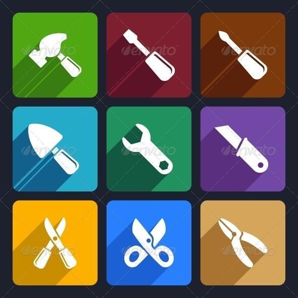 Working Tools Flat Icon Set 12