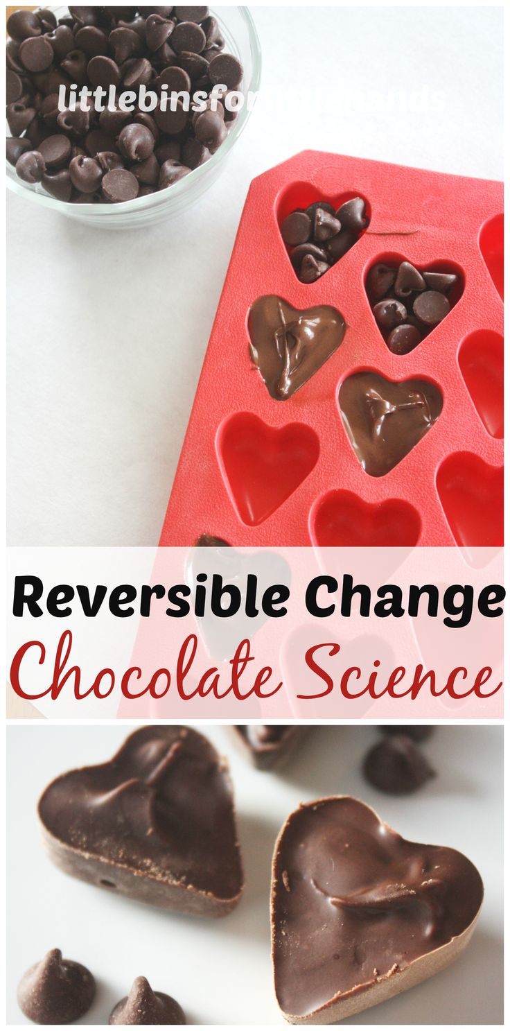 Fun and tasty edible chocolate science experiment for kids. Edible science experiments for kids are also great kitchen science experiments. Explore physics with a reversible change science experiment. Simple Valentine's Day science experiment for Valentine's Day STEM.