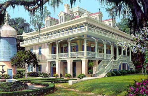 San Francisco Plantation, LA.  San Francisco Plantation House, the most opulent plantation house in North America, is located on the east bank of the Mississippi River less than 40 minutes from New Orleans, Louisiana. It is a galleried house of the Creole open suite style, nestled under centuries old Live Oaks and contains one of the finest antique collections in the country. This Louisiana Plantation is a National Historic Landmark and is open daily for tours.