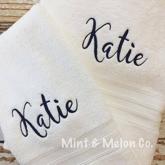 Monogrammed Towel Set, 2 Personalized Bath Towels