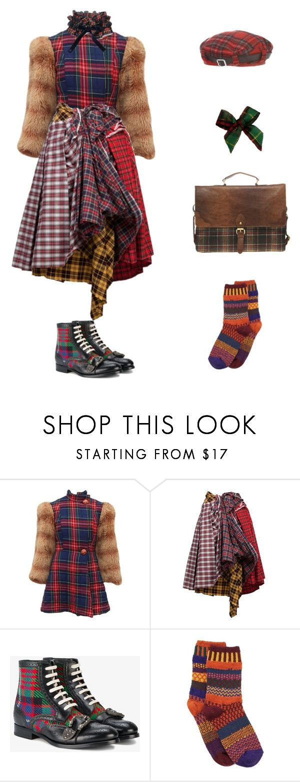 """""""Plaid"""" by lechloris ❤ liked on Polyvore featuring Betsey Johnson, Comme des Garçons, Gucci, INC International Concepts, Solmate Socks, ASOS, vintage, Punk, plaid and Eclectic"""