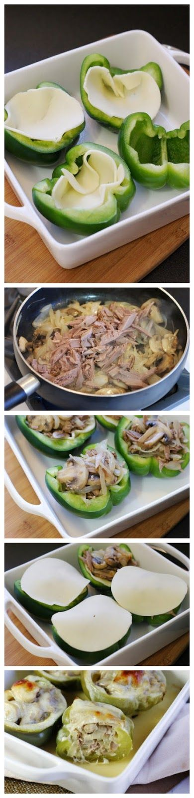 Philly Cheese Steak Stuffed Peppers...Bake at 350 degrees for 40-45 minutes until peppers are tender, covering loosely with aluminum foil after the first 20 minutes of baking.