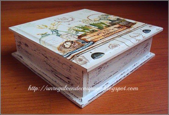Un regalo en decoupage decoupage sobre madera caixas e - Decapado sobre madera ...