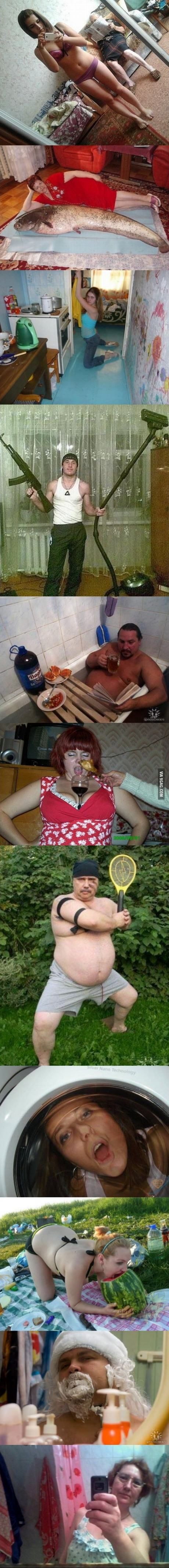Unexplainable Russian Dating Site Pictures...The guy with the gun and vacuum made me laugh!
