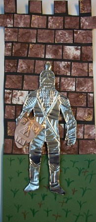 repousse metal tooling knight - good combo with clay castles and coat of arms