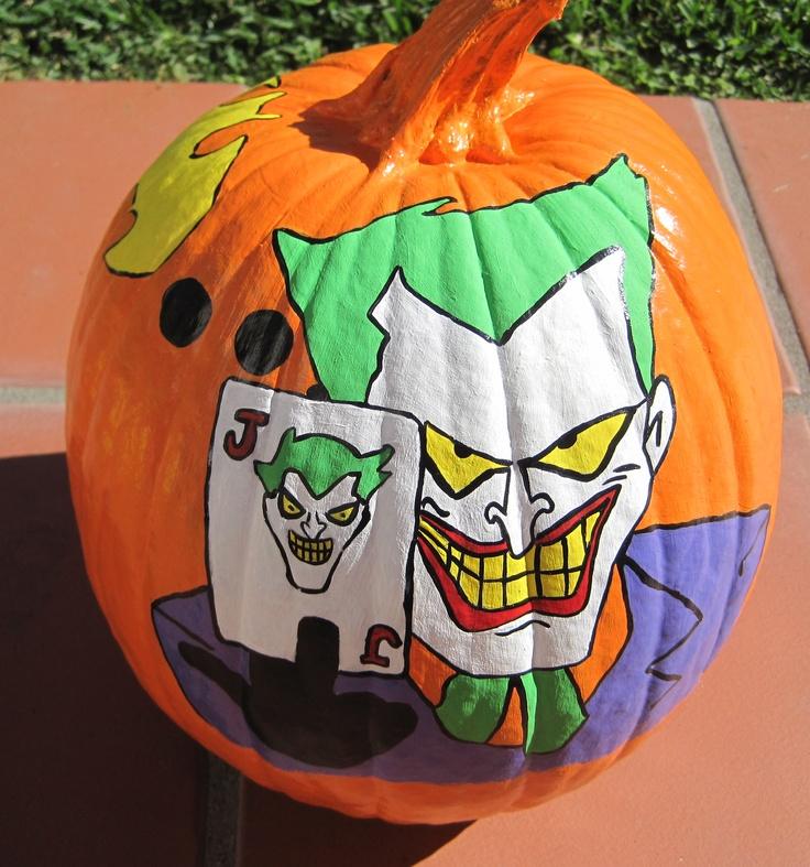 Hand Painted Batman Joker pumpkin, DIY halloween craft, Halloween crafts, acrylic paint