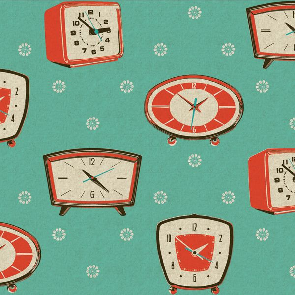 Mid century pink and aqua fab fabric with clock pattern