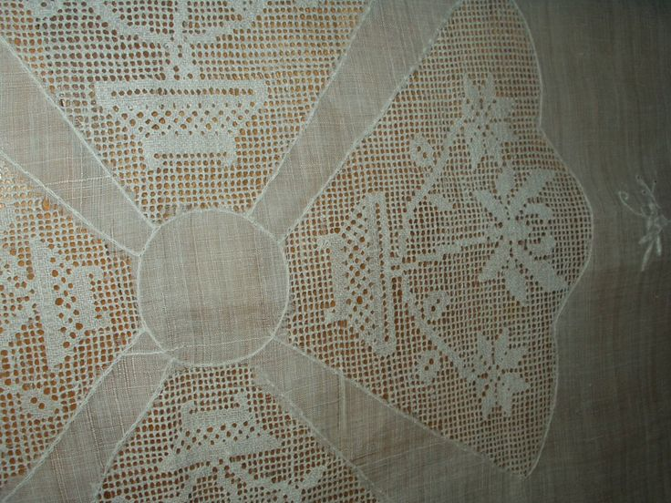 Items Similar To Vintage Rice Linen Tablecloth White Flowers Drawnwork  Scallop Edging On Etsy
