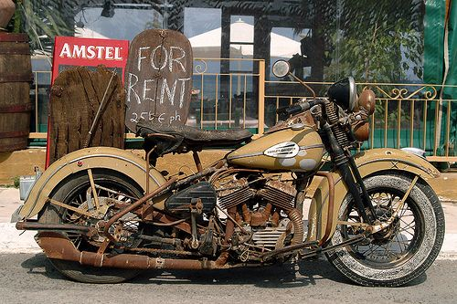 Beautiful rusted vintage Harley Davidson!