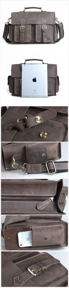 """men's bag vintage handmade crazy horse leather briefcase messenger 13"""" 14"""" laptop / 13"""" 15"""" macbook bag"""