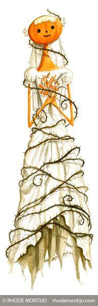 Halloween Bride 17 x 5.5 Signed Watercolor Art by RhodeMontijo
