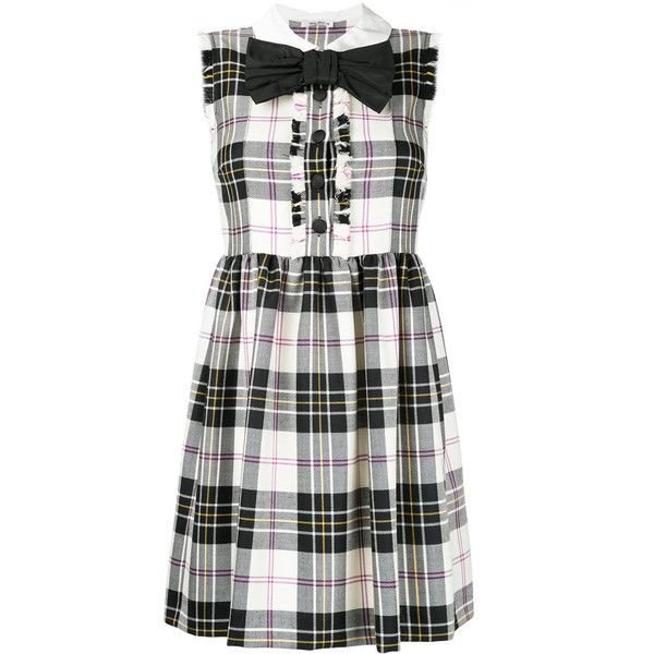 Miu Miu plaid gathered dress ($2,115) ❤ liked on Polyvore featuring dresses, multi-color dresses, plaid dresses, shirring dress, scrunch dress and ruched dress